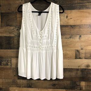 Torrid White Crochet Detail Fit and Flare Tank Top